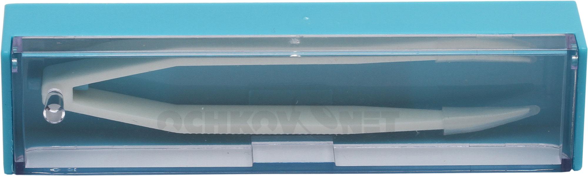 Пинцет средний белый в синем футляре 8 см PC-870
