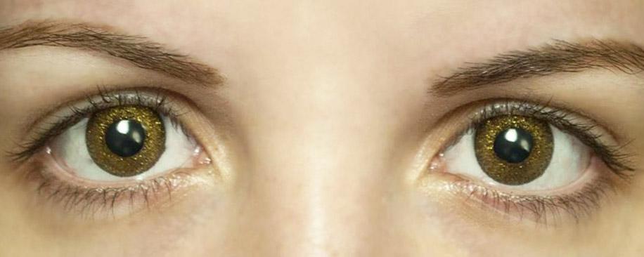 Золотые линзы для темных глаз
